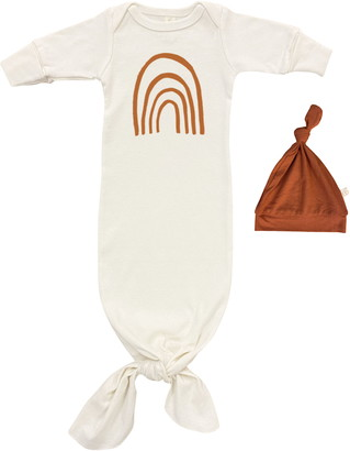 Tenth & Pine Rainbow Organic Cotton Tie Gown & Hat Set
