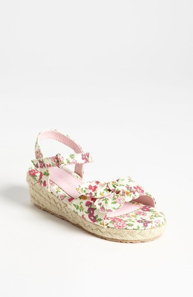 Laura Ashley Flower Print Fabric Sandal (Walker & Toddler)