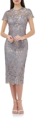 JS Collections Illusion Lace Midi Cocktail Dress