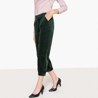 La Redoute Collections Cropped Velvet Carrot Trousers