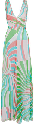 Emilio Pucci Pintucked Printed Silk-chiffon Gown
