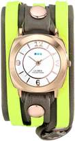 La Mer Women's LMDYLY1000 Neon Odyssey Layer Watch with Cement Wash and Neon Cuff