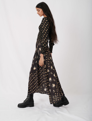 Maje Crepe skirt with mixed floral prints