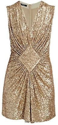 Balmain Sleeveless Gathered Sequin Dress
