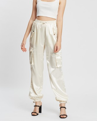 Missguided Satin Wide Leg Cargo Trousers