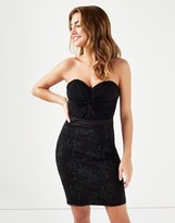 Lipsy Bandeau Embroidered Skirt Bodycon Dress