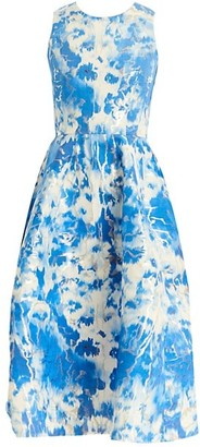 Carolina Herrera Tie-Dye Metallic Stretch-Silk A-Line Dress