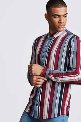 boohoo Retro Stripe Long Sleeve Stripe Shirt