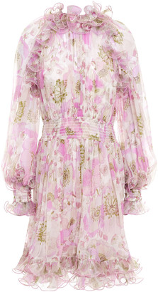 Zimmermann Ruffled Floral-print Silk-georgette Mini Dress