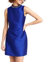 Oasis Embellished Satin Twill Dress, Cobalt Blue
