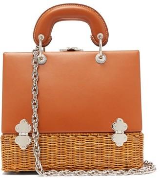 Rodo Sixty-six Small Wicker & Leather Box Bag - Tan Multi
