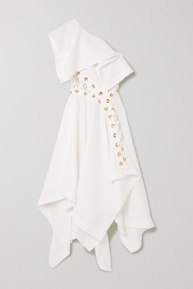 Alexander McQueen One-shoulder Eyelet-embellished Ruffled Linen-poplin Gown - White