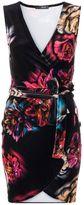Quiz Floral Velvet Wrap Front Short Dress