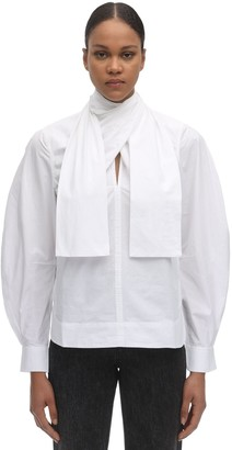 Ganni Back Wrapped Cotton Poplin Shirt