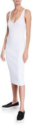 Vince Ribbed Double V-Neck Sleeveless Dress