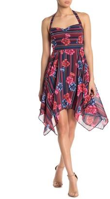 GUESS Asymmetrical Hem Patterned Halter Dress