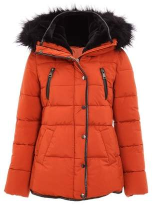 Dorothy Perkins Womens *Quiz Red Padded Faux Fur Trim Jacket, Red