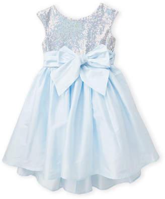 Pippa & Julie Girls 4-6x) Blue Sequin Bow Hi-Low Dress