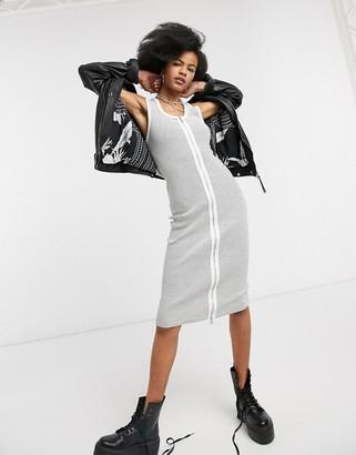 AllSaints alicia stripe midi dress with zip front in black