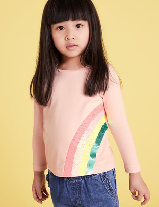 Marks and Spencer Pure Cotton Rainbow Reversible Sequin Top