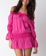 Fuchsia Dots Off-Shoulder Cover-Up