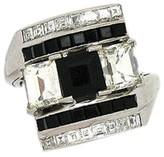 Art Deco Platinum Diamond & Onyx Bypass Ring