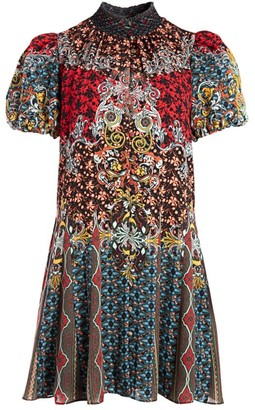 Alice + Olivia Janis Mixed Print Mini Dress