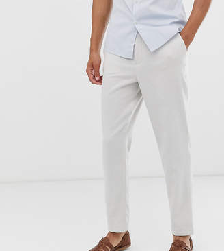 Asos Design DESIGN Tall tapered smart trouser with half elasticated waist in textured off white
