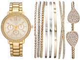Women's Crystal Watch & Tri Tone Bracelet Set