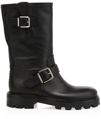 Jimmy Choo Biker II Leather Mid-Calf Boots