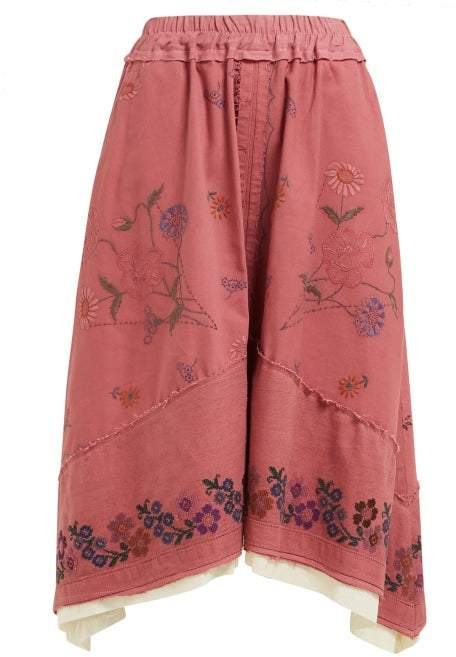 By Walid Solange Floral Embroidered Linen Skirt - Womens - Pink