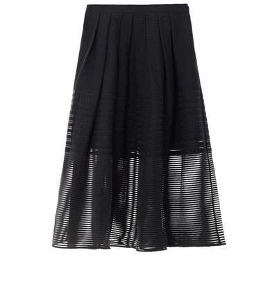 Tibi Stripe organza pleated skirt