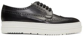 Prada Black and White Platform Brogues