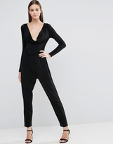 Asos Jersey Jumpsuit with Cowl Neck and Long Sleeves