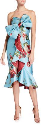 Mestiza New York Stephanie Floral Print Strapless Midi Bow Dress
