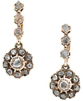Stephanie Windsor Victorian 14K Yellow Gold & Diamond Cluster Drop Earrings