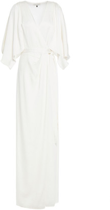 Halston Draped Satin-crepe Wrap Gown