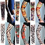 Zhenhui Pack of 6pcs Nylon Elastic Slip Fake Tattoo Sleeve Body Arm Stockings Kit outdoor Riding Fishing Sunscreen Arm Sleeve (6pcs mixed color)