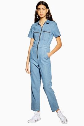 Topshop Mid Stone Short Sleeve Boiler Suit