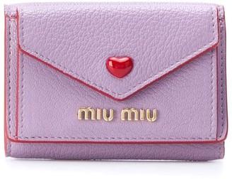 Miu Miu Heart Stud Tri-Fold Wallet