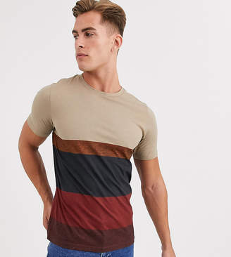 Jack and Jones stripe t-shirt in sand-Tan