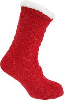 Co-zees Womens/Ladies Chunky Knit Glitter Lounge Slipper Socks With Grip