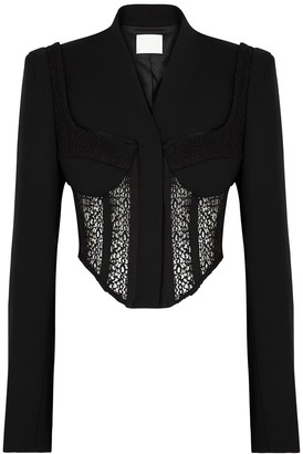 Dion Lee Compact Black Corseted Wool-blend Blazer