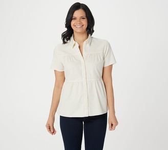 Logo by Lori Goldstein Lightweight Denim Blouse w/ Shirred Tiers