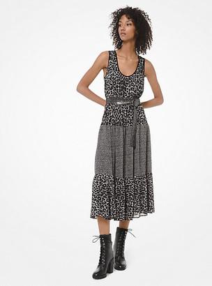 Michael Kors Mixed Leopard-Print Georgette Tiered Dress