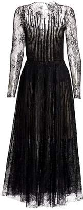 Oscar de la Renta Lace Long-Sleeve A-Line Dress