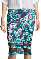 BELLE + SKY Mesh Detail Pencil Skirt