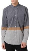 Topman Ice Earthy Stripe Slim Fit Shirt