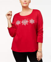 Karen Scott Plus Size Cotton Snowflake Graphic Top, Created for Macy's