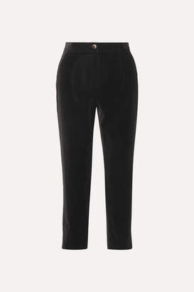 Dolce & Gabbana Cropped Cotton-velvet Tapered Pants - Black